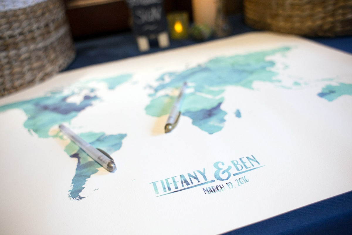 wedding map for guests to sign at tiffany and ben's wedding