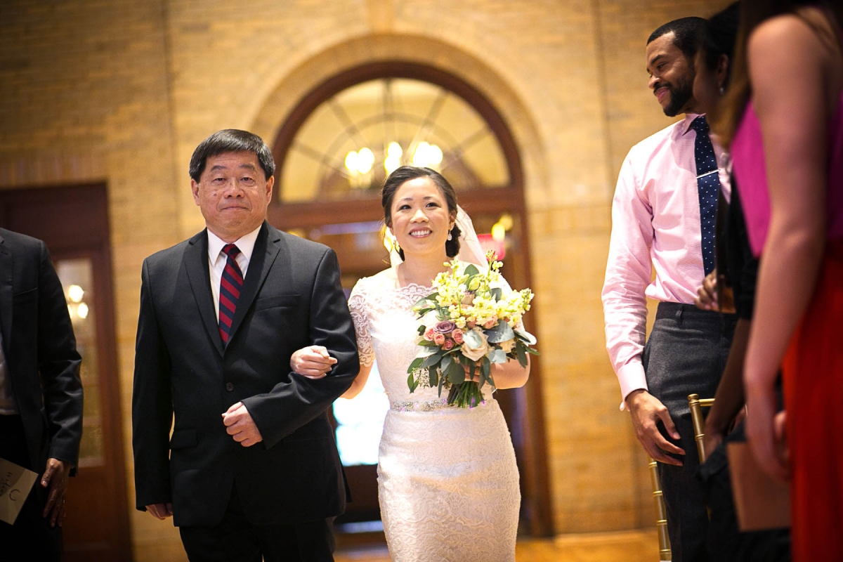 tiffany walks down the aisle with her dad