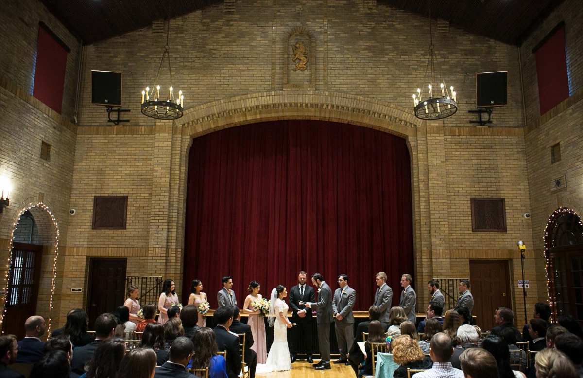 st francis hall wedding ceremony indoors