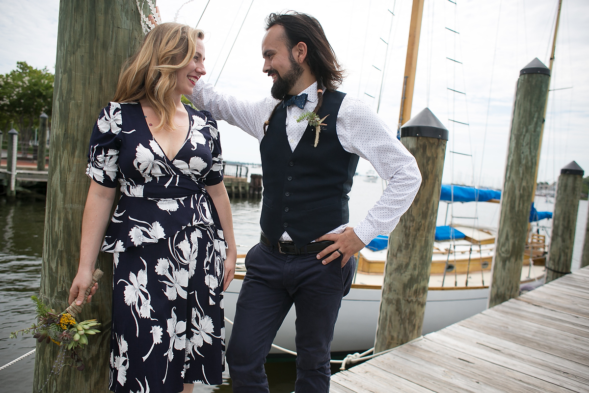 Engagement portraits in Annapolis, MD at city pier