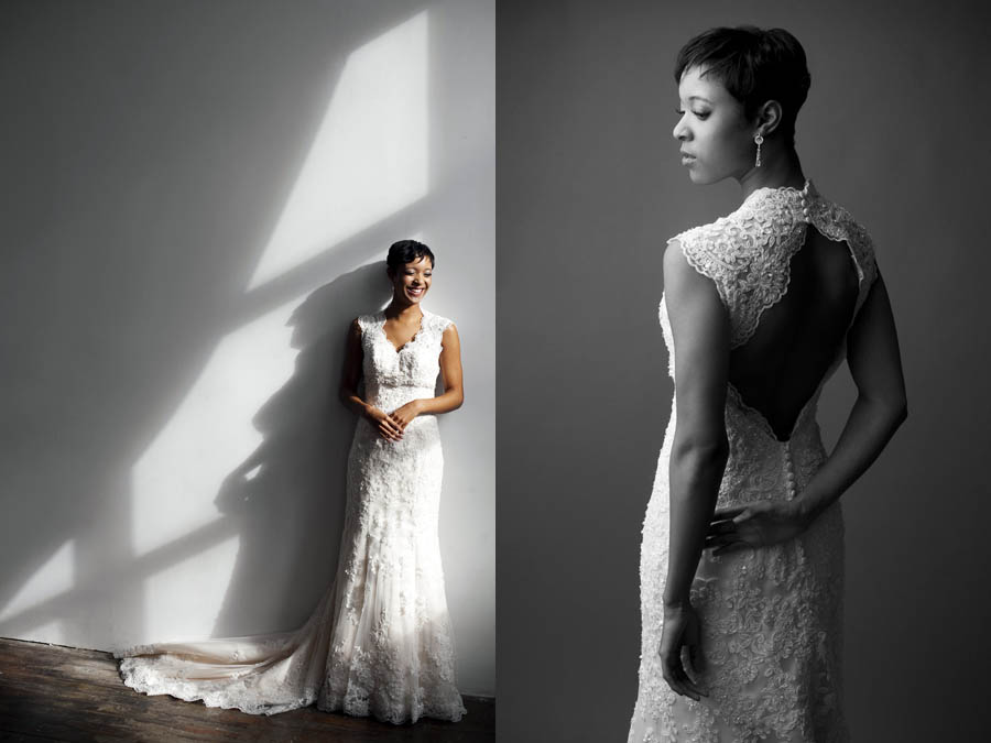 bridal portrait in the studio in baltimore city