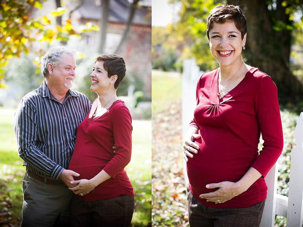 maternity portraits of helena and her husband outside in the fall