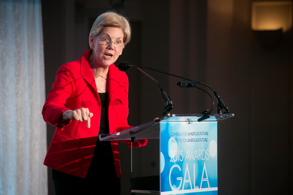 Elizabeth Warren at Campaign for Americas Future gala 2015