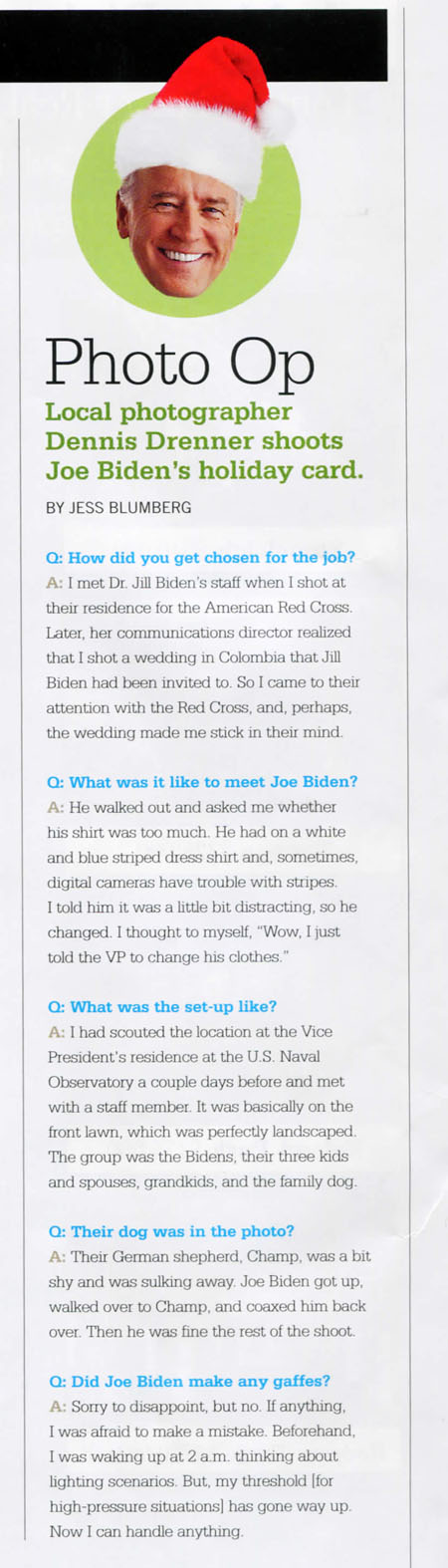 Joe Biden Holiday Card Interview