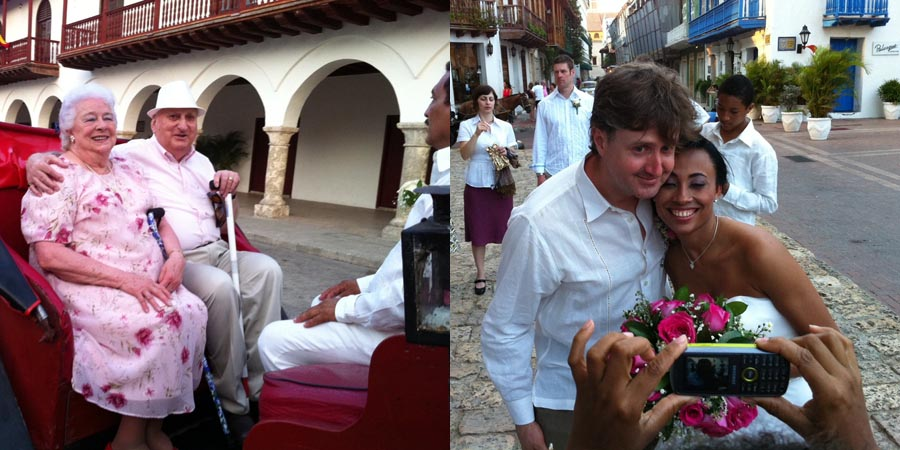 An older couple sit in a horse drawn carriage after a wedding in cartagena.