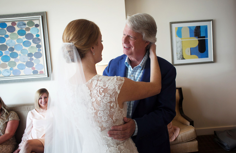 alice says hi to her father before her wedding