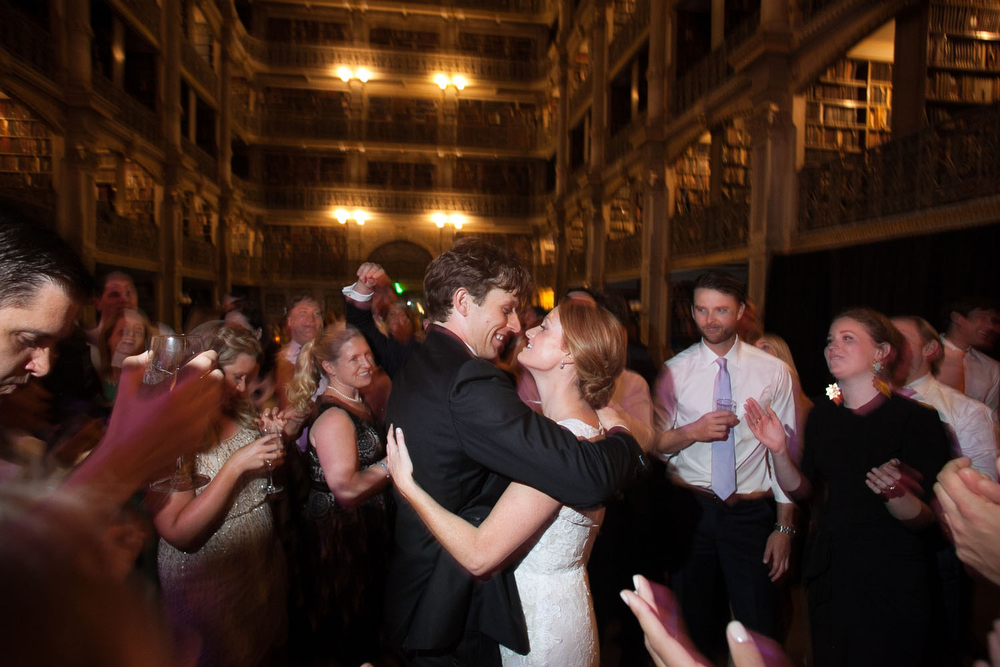 wedding reception at the peabody library with alice and adam