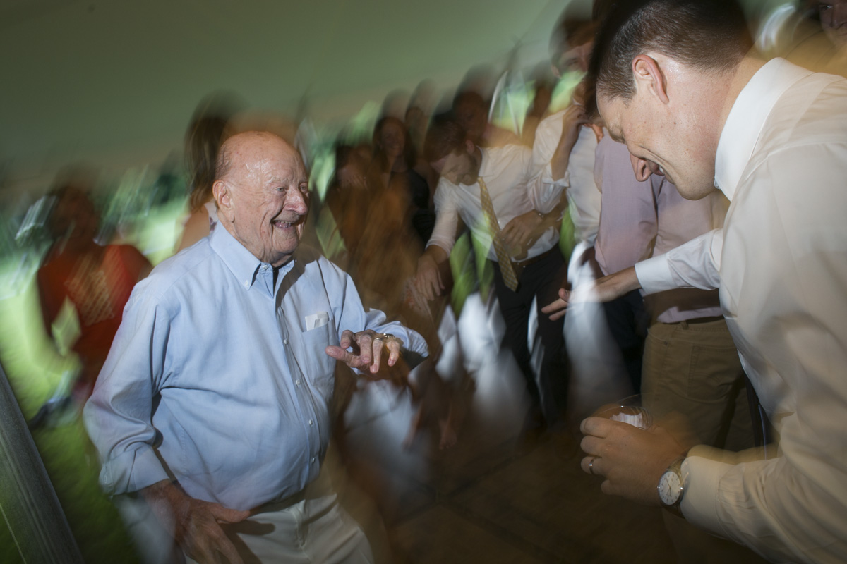 Grandfather dancing at a wedding
