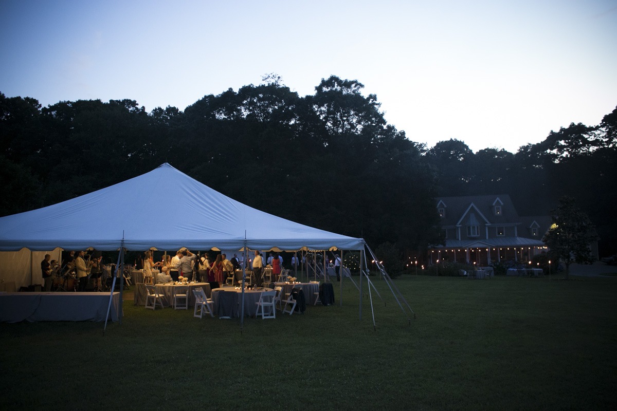 Wedding tent in front lawn of a house near Sparks, Maryland