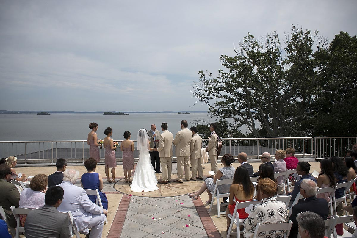 wedding ceremony at top of the bay