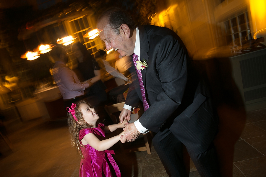 Grandfather and granddaughter dance