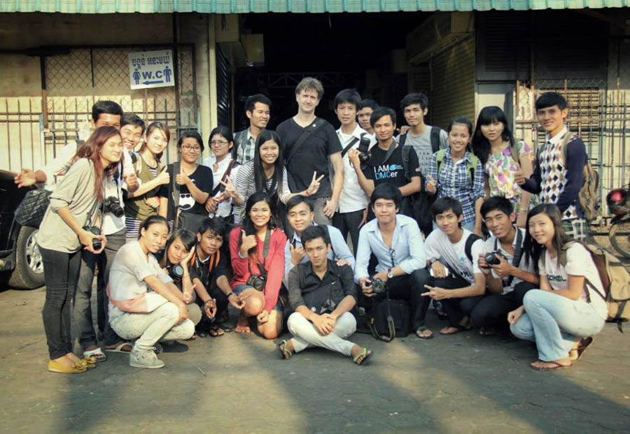 dennis drenner with his students in cambodia