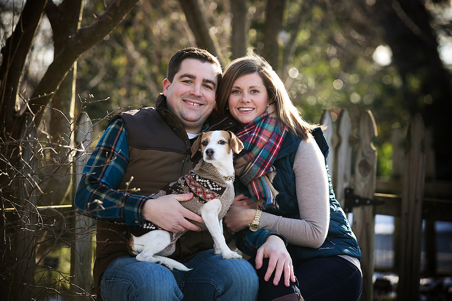 Couple with dog at engagment photo session at Cylburn Arboretum in Baltimore