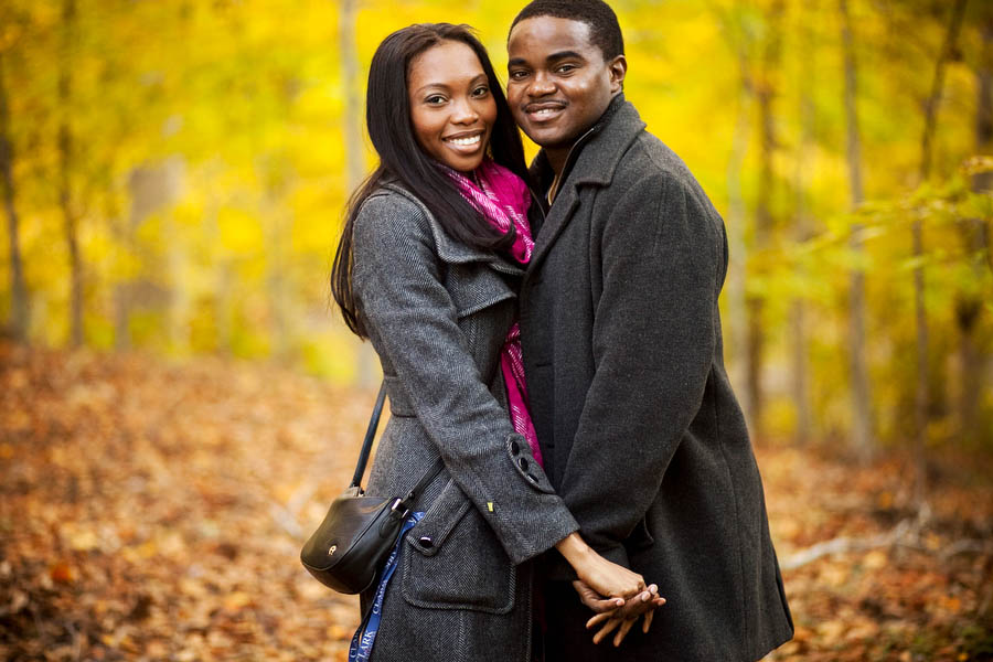 onyinye and austin's engagement portrait in druid hill park in baltimore