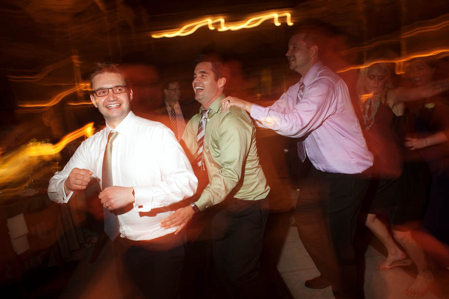 conga line at peabody library wedding