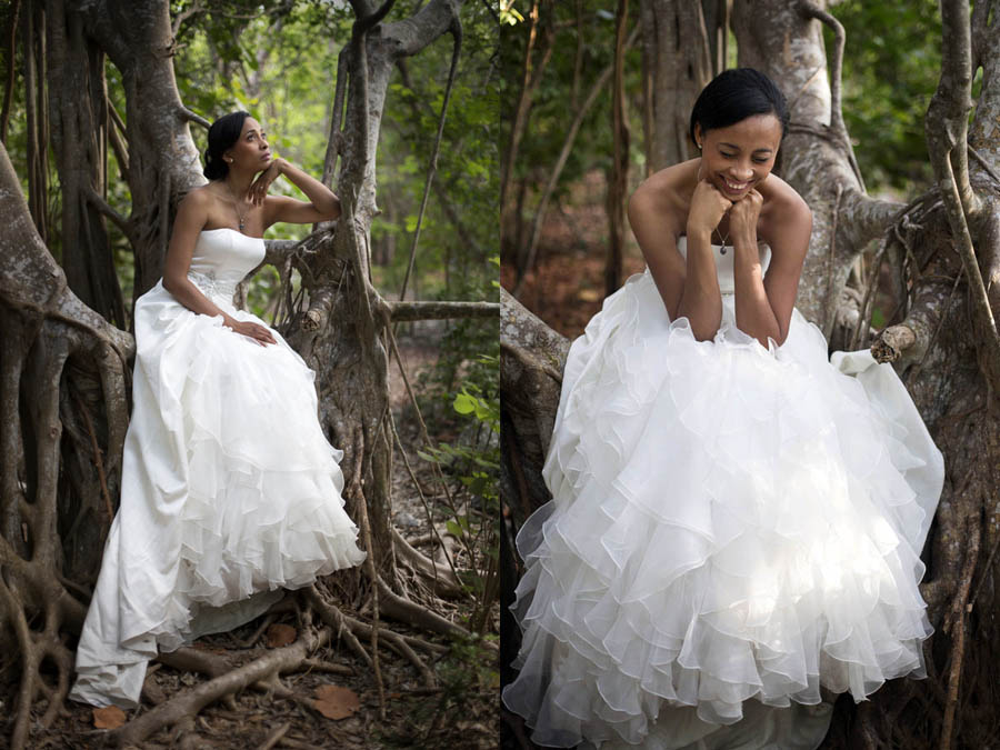 bridal portraits in the hardwood hammock forest at fort zachary taylor national park