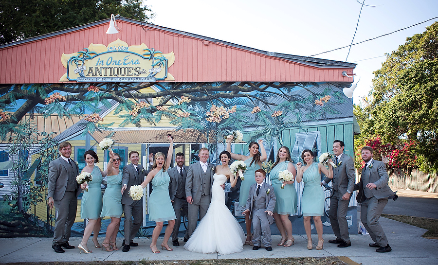 bridal party portraits in key west