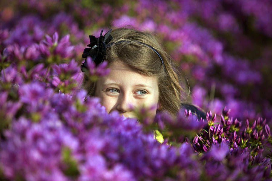 portrait of a girl at sherwood gardens hiding in the azaleas