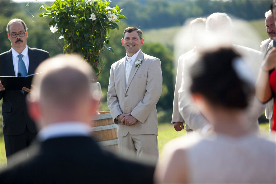 eric watches wendy walk down the aisle