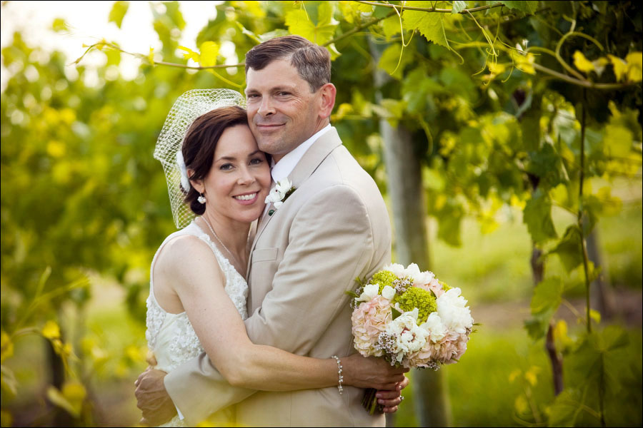 wendy and eric's wedding portrait in the vineyard at linganore wine cellars